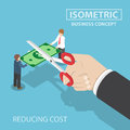 Isometric businessman hand with scissors cutting money Royalty Free Stock Photo