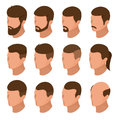 Isometric Businessman or male person character creation set. Collection of of men`s hairstyles, hipster style isolation