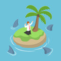 Isometric businessman stranded in an island surrounded by shark