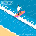 Isometric businessman surfing on the wave