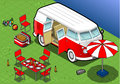Isometric camping van in front view detailed illlustration of a this illustration is saved eps with color space rgb Stock Images