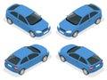 Isometric car. Hatchback car. Flat 3d vector high quality city transport icon set.