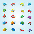 Isometric cars illustration of set of Stock Image