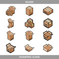 Isometric carton packaging boxes set in flat style with postal signs this side up fragile Royalty Free Stock Photo