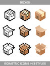 Isometric carton packaging boxes set in three styles with postal signs this side up fragile Royalty Free Stock Photo