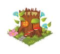 Isometric Cartoon Fantasy Tree Stump Village House Decorated with Flowers - Elements for Tileset Map
