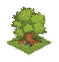 Isometric Cartoon Gigantic Oak Tree, Green and Bushy - Element for Tileset Map or Landscape Design