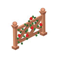 Isometric Cartoon Wooden Fence or Gate Decorated with Red Roses and Green Leaves
