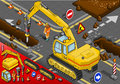 Isometric chisel excavator in rear view detailed illustration of a with man at work Stock Images