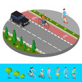 Isometric City. Bike Path with Bicyclist. Footpath with Walking Man Royalty Free Stock Photo