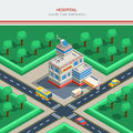 Isometric City Constructor With Hospital Building Royalty Free Stock Photo