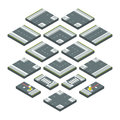 Isometric city elements road, grass and crossroads. Vector illustrations set isolate on white background