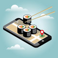 Isometric city. Food delivering. Sushi. Mobile searching. Geo tracking. Map.Isometric city. Food delivering.