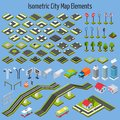 Isometric City Map Elements Royalty Free Stock Photo