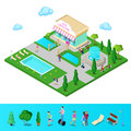 Isometric City Park with Fountain and Swimming Pool. Active People Walking in Park. Vector Royalty Free Stock Photo