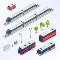 Isometric City. Urban Elements. Isometric Bus Royalty Free Stock Photo