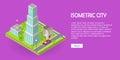 Isometric City Vector Web Banner