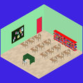 Isometric classroom with object: desk, book shelfs, table, chair, note board