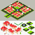 Isometric Cluster House Collection Set Royalty Free Stock Photo