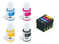 Isometric CMYK set of cartridges for ink jet printer and color chart. Empty refillable cartridges for colour inkjet Royalty Free Stock Photo