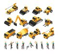 Isometric construction workers, building machinery and equipment 3d vector set