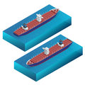 Isometric container ship. Cargo vessel. Detailed cargo ship vector isolated. Global cargo shipping concept. Ferry ship