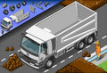 Isometric container truck in front view detailed illustration of a this illustration is saved eps with color space rgb Royalty Free Stock Photo