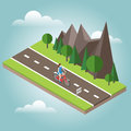 Isometric countryside. Summer road. Woman cycling on countryside summer sunny road or highway