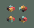 Isometric cubes illusions in diferent position Stock Photography