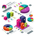 Isometric 3d business vector infographic with color diagrams and charts Royalty Free Stock Photo