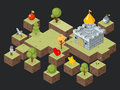 Isometric 3D game play scene vector