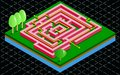 Isometric 3D maze tile with arrow solution. Labyrinth on the green grass on a black background Royalty Free Stock Photo