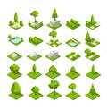 Isometric 3d nature elements. Forest and city park trees and plants. Vector map graphics