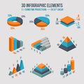 Isometric 3d vector sign. Pie and donut chart