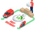 Isometric delivery service concept. Fast delivery car, fast delivery motobike, delivery man, stopwatch. Vector 3d Royalty Free Stock Photo