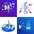 stock image of  Isometric DNA helix, DNA Analysing concept. Digital blue background. Innovation, medicine, and technology.