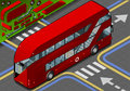 Isometric double decker bus in rear view detailed illustration of a this illustration is saved eps with color space rgb Stock Photography