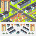 Isometric dwelling buildings vector editable with elements logically layered Stock Image