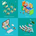 Isometric Educational Concept. University Computer Classroom, Online Education, Library, College Lecture Hall