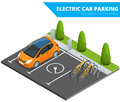 Isometric Electric car parking, electronic car. Ecological concept. Eco friendly green world. Flat 3d vector isometric