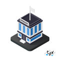 Isometric embassy icon, building city infographic element, vector illustration Royalty Free Stock Photo