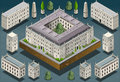 Isometric european historic building detailed illustration of a Stock Photos