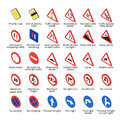 Isometric european traffic signs. Vector road icons collection. Royalty Free Stock Photo