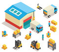 Isometric factory distribution warehouse building with trucks electric trolleys and goods vector d icons set industrial delivery Royalty Free Stock Images