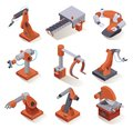 stock image of  Isometric factory robots