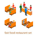 Isometric fast food restaurant building inside Royalty Free Stock Image
