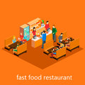 Isometric fast food restaurant building inside Royalty Free Stock Photography