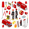 Isometric Firefighter. Fireman with Tank Truck and Equipment