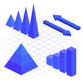 Isometric flat 3D infographic elements with data icons and design elements.