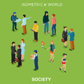 Isometric flat people crowd vector illustration. Different man and woman stand, talk, call phone and walk.